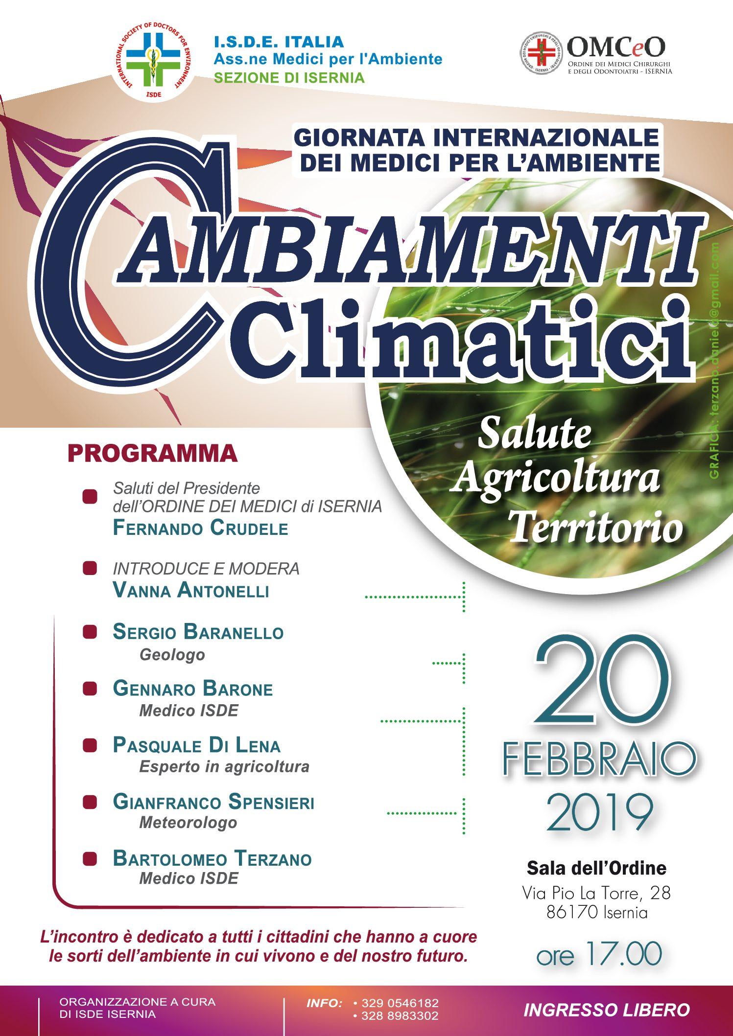 CAMBIAMENTI CLIMATICI Salute, Agricoltura, Territorio